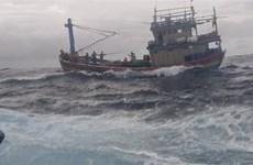 渔检船及时营救平定省一艘渔船和十多名渔民