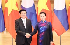 越南国会主席阮氏金银会见老挝总理通伦·西苏里