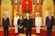 阮富仲接受外国新任驻越大使递交国书