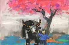 通过美术作品送鼠年迎牛年