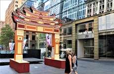 在悉尼中心设立的越南传统牌楼令人印象深刻