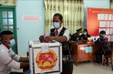国会与各级人民议会换届选举:广南省南江县6个边界乡提前举行投票