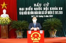 越南国会和各级人民议会换届选举:越南国会主席王廷惠在海防市安老县参加投票