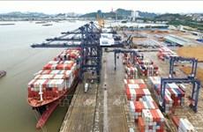 全球最大集装箱班轮运输公司马士基航运船舶靠泊广宁省盖麟港