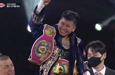 越南女子拳击运动员阮氏秋儿获得世界拳击组织轻量级国际拳王金腰带