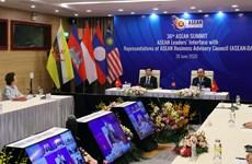 组图:阮春福总理出席东盟领导人与东盟商务咨询理事会对话并发表讲话