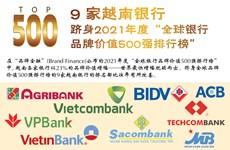 """图表新闻:9 家越南银行跻身2021年度""""全球银行品牌价值500强排行榜"""""""