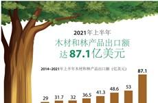 图表新闻:2021年上半年越南木材和林产品出口额 达 87.1亿美元