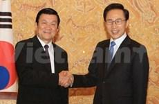 国家主席张晋创与韩国总统李明博举行会谈