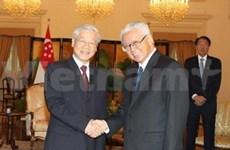 阮富仲总书记会见新加坡总统陈庆炎