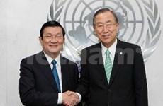 越南国家主席张晋创会见联合国秘书长潘基文