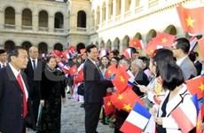 欢迎阮晋勇总理访问法国仪式在巴黎举行