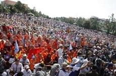 柬埔寨准许反对党救国党在白天举行抗议示威活动