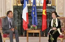 越南国家副主席会见法国参议院议长和外交部长