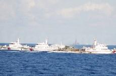 现场报道:中国船只排成横排激烈阻拦越南执法船