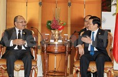 2014年APEC峰会:越南国家主席张晋创会见各国领导人