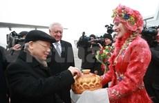 越共中央总书记阮富仲开始对白俄罗斯进行正式访问