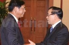越共总书记农德孟接见老挝总理波松