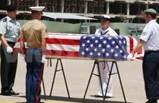 美国士兵遗骨转交仪式在岘港国际机场举行