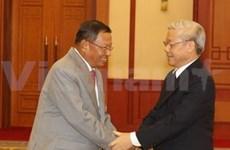 越共中央总书记、国会主席阮富仲会见柬埔寨人民党高级代表团