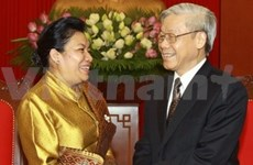 越共中央总书记阮富仲会见老挝驻越大使