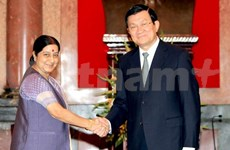 越南国家主席张晋创会见印度外长斯瓦拉吉