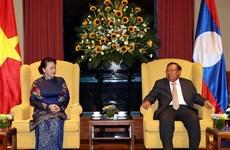 越南国会主席阮氏金银会见老挝人民革命党总书记、国家主席本扬