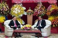 胡志明市领导庆祝老挝国庆节45周年