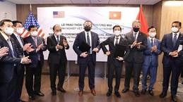 越南国家主席阮春福出席越美公司合作协议文本互换仪式