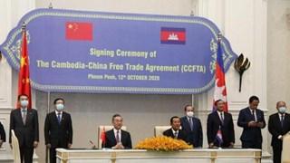 中国与柬埔寨签署自由贸易协定