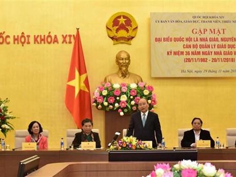 阮春福总理会见优秀教育管理工作者和教师代表