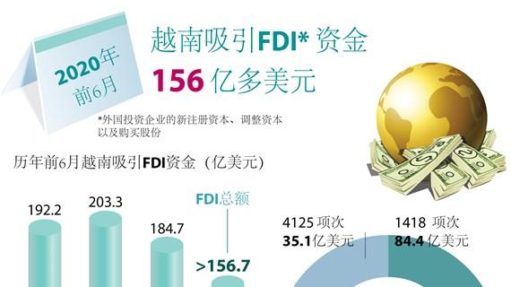 图表新闻:越南上半年引进的外资总额达156.7亿美元