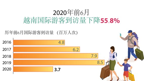 图表新闻:2020年前6月,越南接待国际游客量下降55.8%