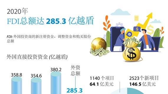 图表新闻:2020年越南FDI总额达 285.3 亿越盾