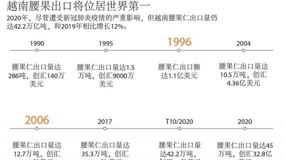 图表新闻:越南腰果出口将位居世界第一