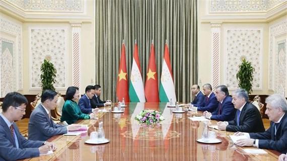 越南国家副主席邓氏玉盛同多国领导举行双边会晤