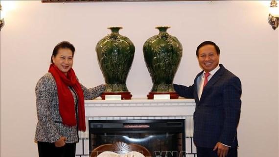 越南国会主席阮氏金银造访越南驻俄罗斯大使馆