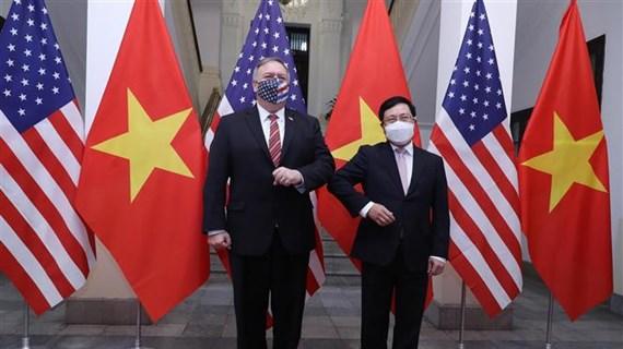 越南政府副总理兼外长范平明与美国国务卿蓬佩奥举行会谈