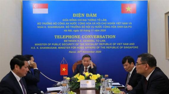 越南公安部与新加坡内政部长兼律政部促进合作关系