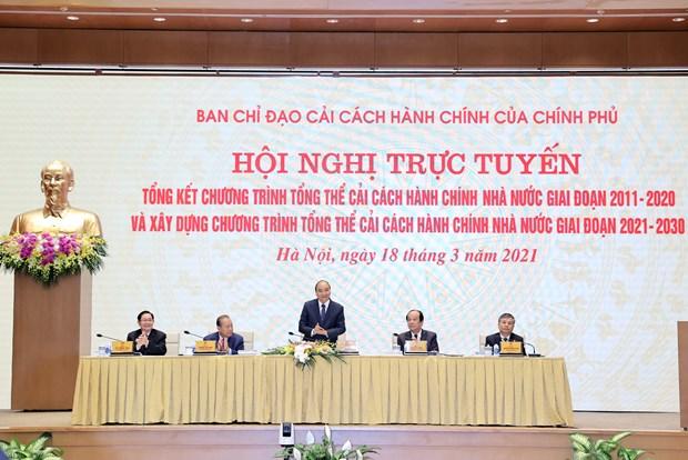 阮春福主持2011-2020年阶段国家行政审批制度改革总体计划总结全国视频会议 hinh anh 1