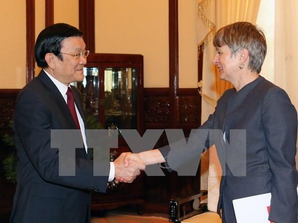 越南国家主席张晋创接见各国驻越大使 hinh anh 1