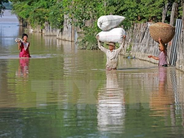 缅甸水灾持续恶化4千灾民被紧急疏散 hinh anh 1