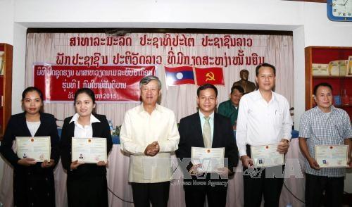 为老挝安全部干部战士们开设的首个越语培训班已结业 hinh anh 1