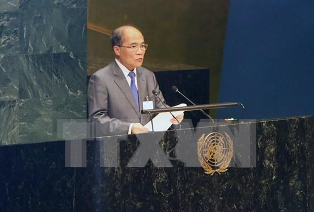 越南国会主席阮生雄出席第四次世界议长大会并发表演讲 hinh anh 2