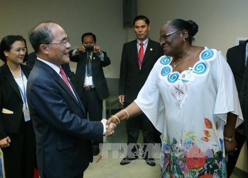 越南国会主席阮生雄共同主持第四次世界议长大会的专题辩论会 hinh anh 2
