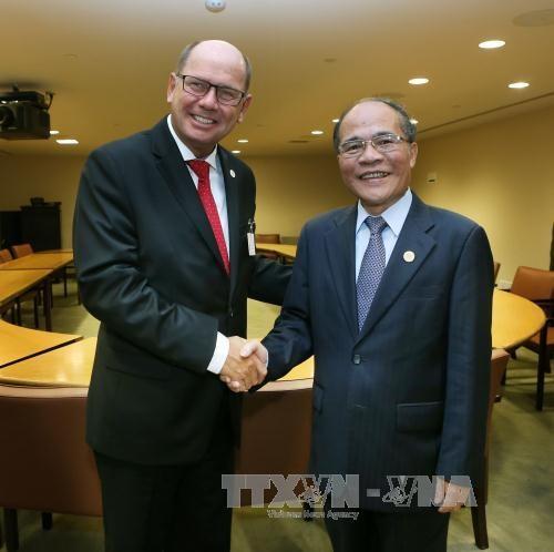 越南国会主席阮生雄会见瑞典议会议长和第69届联大主席 hinh anh 1