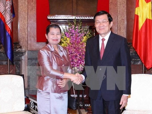 越南国家主席张晋创会见柬埔寨皇家政府副首相梅森安 hinh anh 1