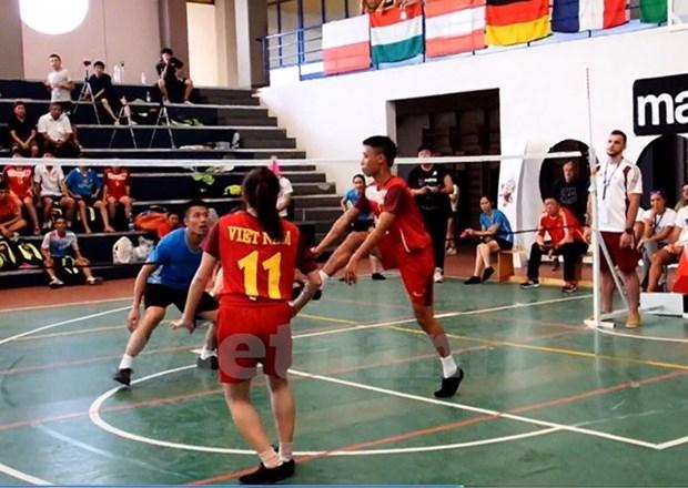 第八届世界毽球锦标赛:越南毽球队夺得两金一银 hinh anh 1