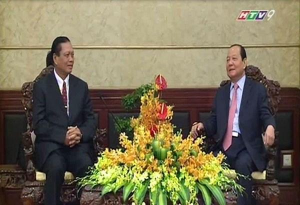 胡志明市领导人会见老挝占巴塞省高级代表团 hinh anh 1