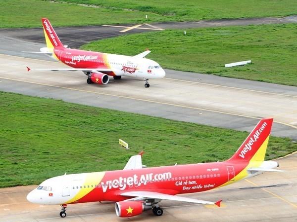 越捷航空公司航班遭受第三号台风影响 hinh anh 1